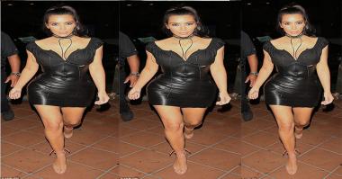 Bodi Aduhai Kim Kardashian Kenakan Dress Korset Kulit