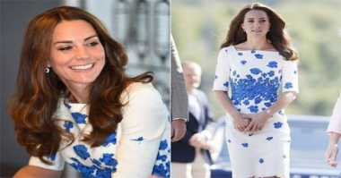 Aihhh...Cantiknya Kate Middleton Dibalut Mini Dress Putih Biru