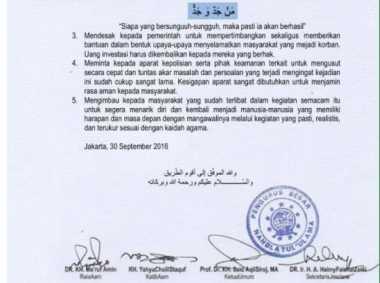 Terkait Kasus Kanjeng Dimas, PBNU: Umat Islam Jangan Mudah Tergiur