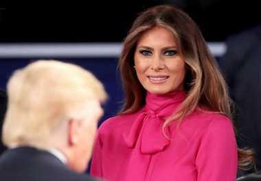 Gaya Melania Trump Pakai Jumpsuit Berpita di Debat Final Kepresidenan AS