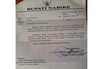 Bupati Isaias Larang Wings Air Beroperasi di Nabire