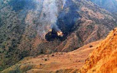 FOTO: Pesawat Jatuh di Pakistan Habis Terbakar