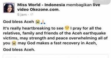 MISS WORLD 2016: Aceh Diterjang Gempa Bumi, Natasha Mannuela Turut Berduka