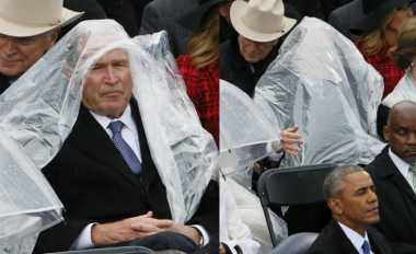 Momen Lucu George Bush Hindari Hujan Saat Inagurasi Trump