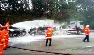 Truk Tangki Pertamina yang Terbakar di Tol Jagorawi Berhasil Dipadamkan