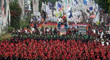 Aksi Buruh di Samarinda Suarakan 5 Tuntutan, Nih Isinya...