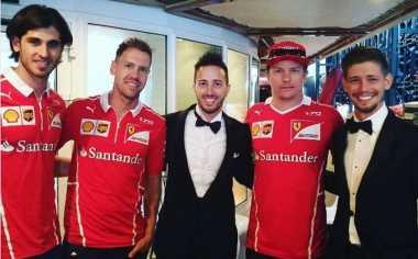 Tonton F1 di Monaco, Andrea Dovizioso Foto Bareng Sebastian Vettel dan Kimi Raikonen