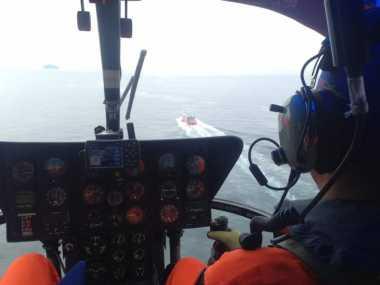 Pantau Penyeberangan Padangbai-Lembar Basarnas Bali Turunkan Helikopter