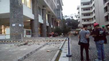 Polisi Selidiki Ornamen Tiang Gedung CADL ITB yang Runtuh