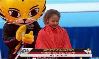 Turun di Nomor Balance Beam, Rifda Sumbang Medali Emas Ke-13 Indonesia di SEA Games 2017