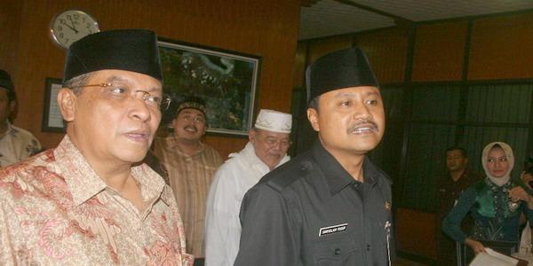 Ketum PBNU KH Aqil Siradj bersama Ketua PBNU Syaifullah Yusuf (Foto: Ashadi Ihsan/Koran SI)