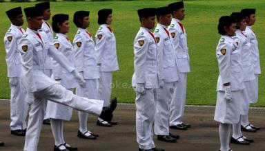 Pasukan pengibar bendera (Foto: Andika Pradipta/okezone)