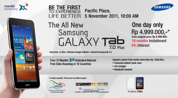 Samsung Galaxy Tab 7.0 Plus Siap Meluncur ke 7 Kota