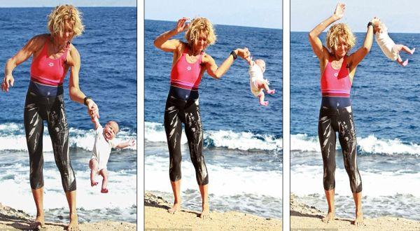 Yoga bayi yang dilakukan Lena (Foto: Daily Mail)