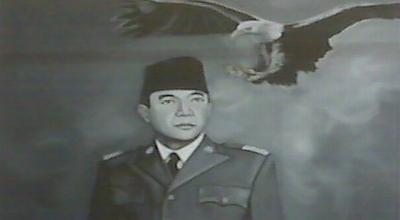 Lukisan hitam-putih Soekarno di GIM Bandung (Foto: Okezone/Iman Herdiana)