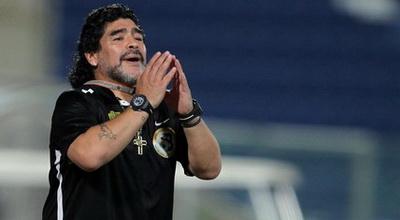 Salah satu ekspresi Maradona saat melatih (Foto: Getty Images)