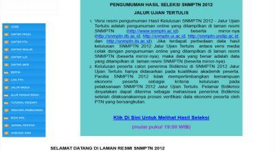 Pengumuman SNMPTN di Laman Resmi