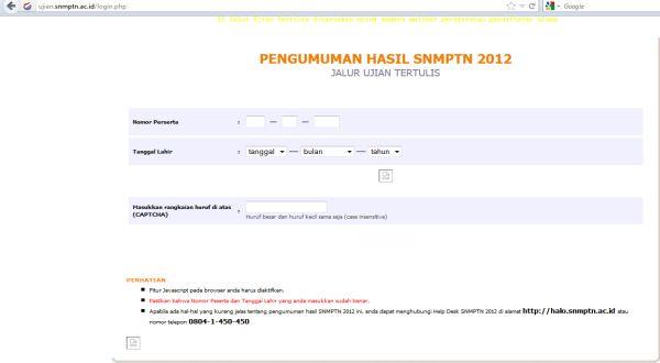 Dok Web SNMPTN 2012.