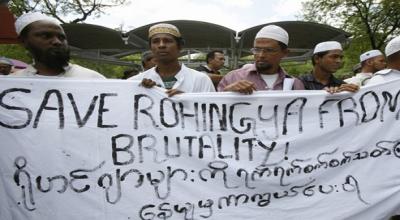 Unjuk rasa Muslim Rohingya di Bangkok, Thailand (Foto: Reuters)