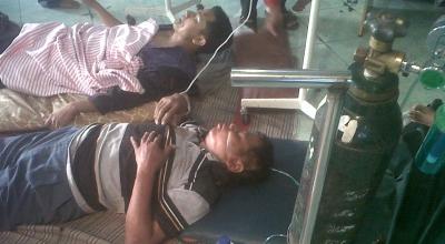 Korban kecelakaan bus di Sidoarjo (Foto: Okezone/Nurul Arifin)