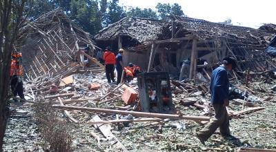 Lokasi ledakan petasan di Malang (Foto: Okezone/Hari Istiawan)