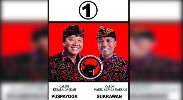 Logo PDIP pada gambar pasangan PAS (Foto: Rohmat/Okezone)