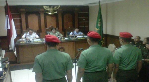 Tiga terdakwa anggota Kopassus (Foto: Ridho Hidayat/Koran Sindo)