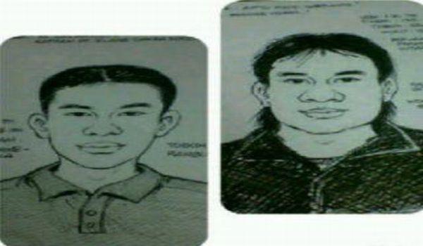 Sketsa pelaku penembak dua anggota polisi (Foto: Awal/Okezone)