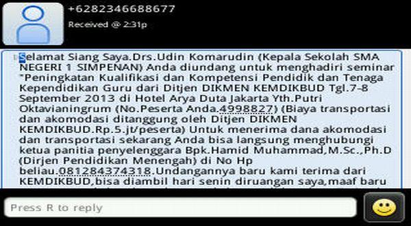 SMS penipuan yang mencatut nama Dirjen Dikmen Kemendikbud Hamid Muhammad. (ist.)