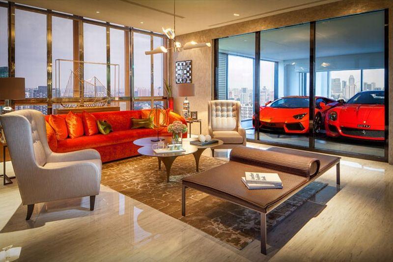 Desain Ruang Tamu Super Mewah di apartemen ini mobil mewah bisa parkir dekat ruang tamu