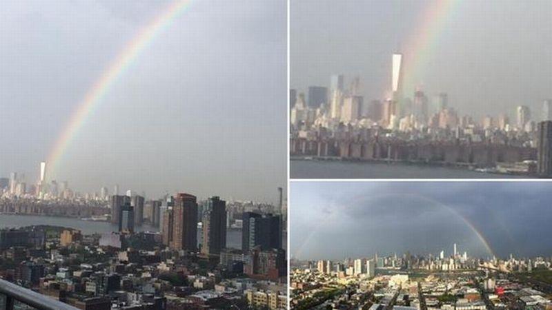 Pelangi muncul dari gedung WTC (Foto: NBC)