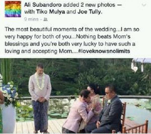 Foto Pernikahan Sejenis yang Menghebohkan Masyarakat Bali (Dok: Facebook)