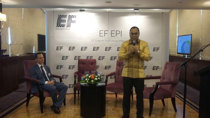 Suasana konferensi pers EF English Proficiency Index (EPI) di Hotel Kempinski, Jakarta. (Foto: Iradhatie W/Okezone)