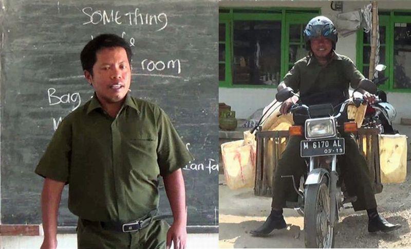 Guru honorer di Sumenep, Mohammad Harpin, berjualan tahu demi menambah penghasilan sehari-hari. (Foto: Syaiful Islam/Okezone)