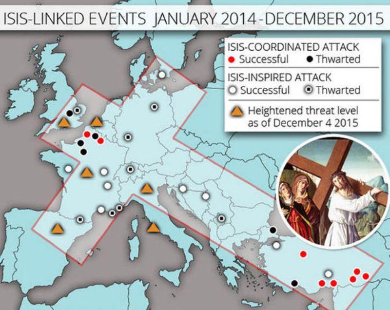 Peta serangan ISIS menyerupai salib. (Foto: Express)