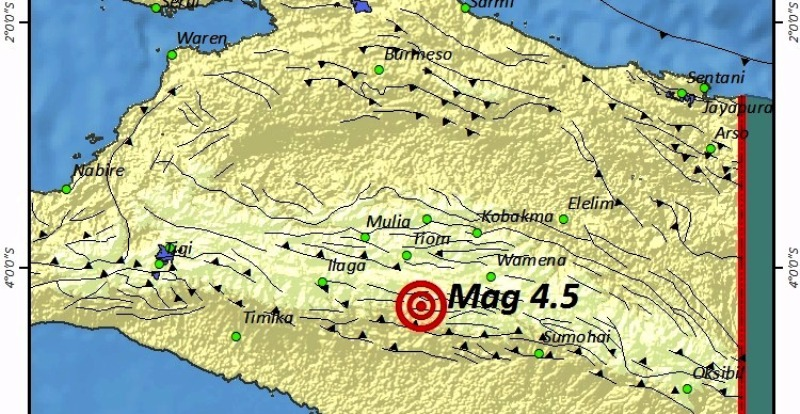 Gempa 4,5 SR Guncang Wilayah Lanny Jaya