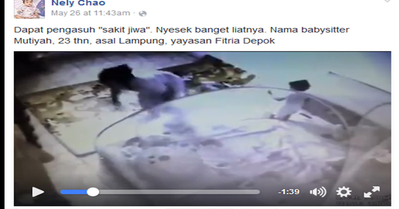 Video babysitter sadis diunggah ke FB.
