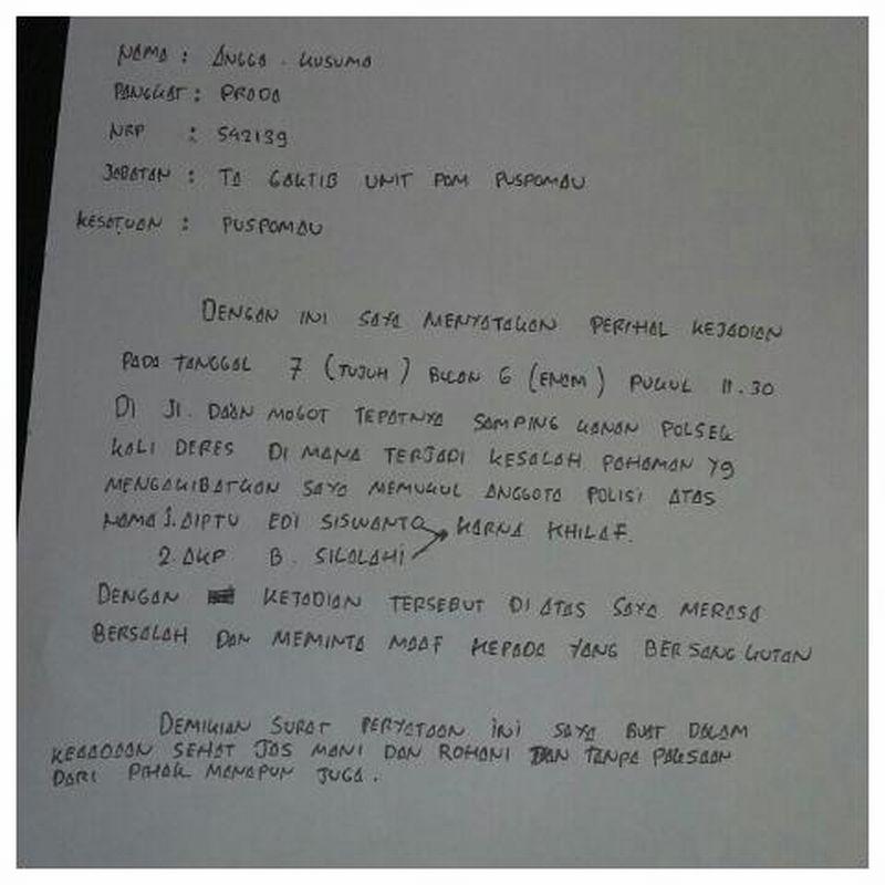 Usai Hantam Polantas Prada Angga Tulis Surat Permohonan