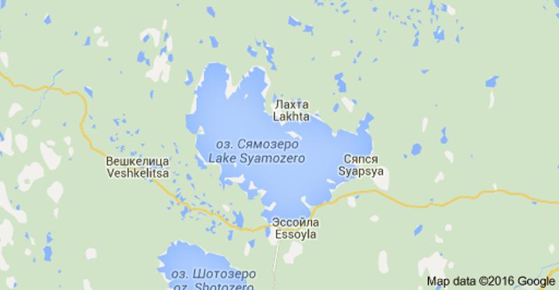 Lokasi Danau Syamozero di Keralia, Rusia. (Foto: Google Maps)