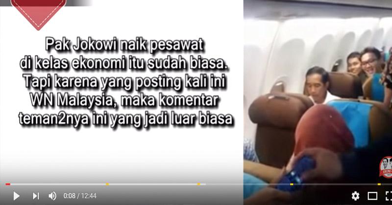 Jokowi kedapatan naik pesawat kelas ekonomi salah satu penerbangan di Indonesia.