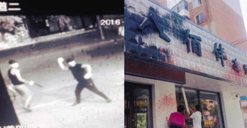 Rekaman CCTV tunjukkan aksi balas dendam pelanggan salon yang tidak puas dengan hasil cukurnya. (Foto: Shanghaiist)