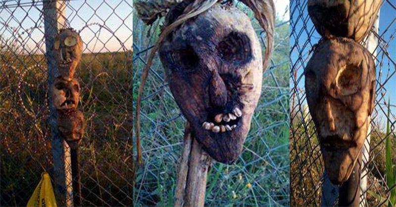 Foto topeng-topeng mengerikan yang disebut digunakan sebagai orang-orangan sawah di sepanjang pagar perbatasan Hungaria (Foto: Facebook)