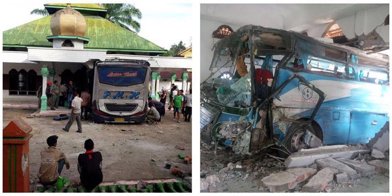 Bus Tabrak Masjid, Dua Orang Tewas