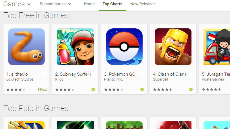 Slither.io dan Subway Surfers Geser Posisi Clash Of Clans