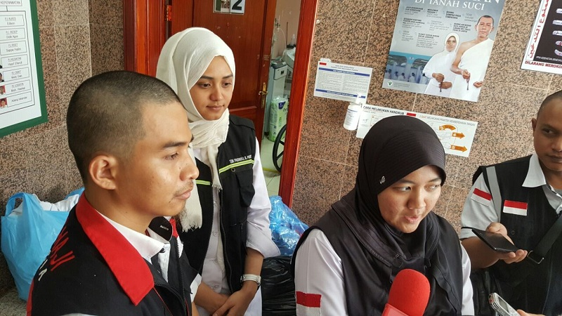 Tenaga kesehatan di Klinik Kesehatan Haji Indonesia (KKHI). (Foto: Mohammad Saifulloh/Okezone)