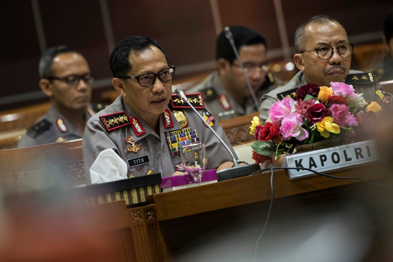 Kapolri Jenderal Tito Karnavian saat di Kompleks Parlemen RI, Jakarta (Sigid/Antara)