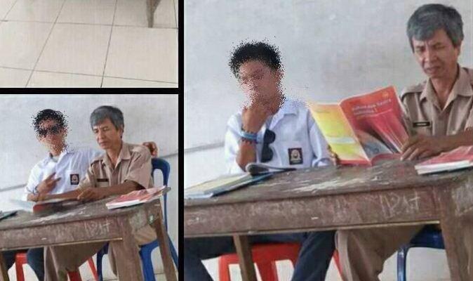 Siswa Merokok di Samping Gurunya (Foto: Ist)