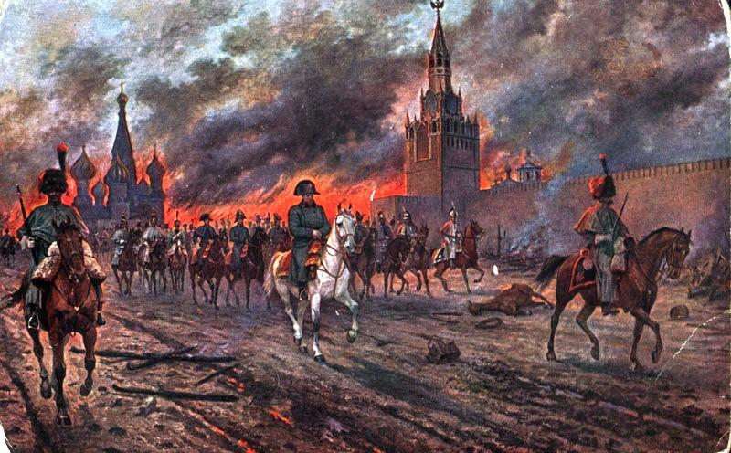 Gambaran yang memperlihatkan Napoleon serta pasukannya tiba di Moskow dalam keadaan kota tersebut sudah terbakar (Foto: Poets & Princes)