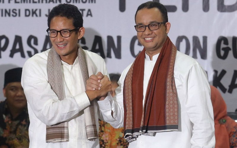 Cagub dan Cawagub DKI Jakarta Anies Baswedan dan Sandiaga Uno (Foto: Heru/Okezone)