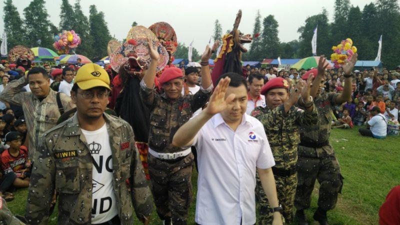 Ketua Umum Partai Perindo Hary Tanoesoedibjo saat hadir di Kediri (Foto: Zen/Okezone)